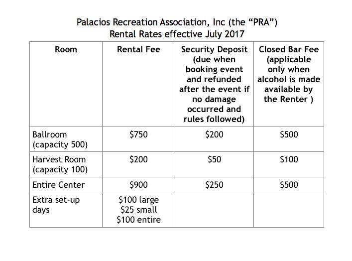 Palacios Recreation Center Rental Rates